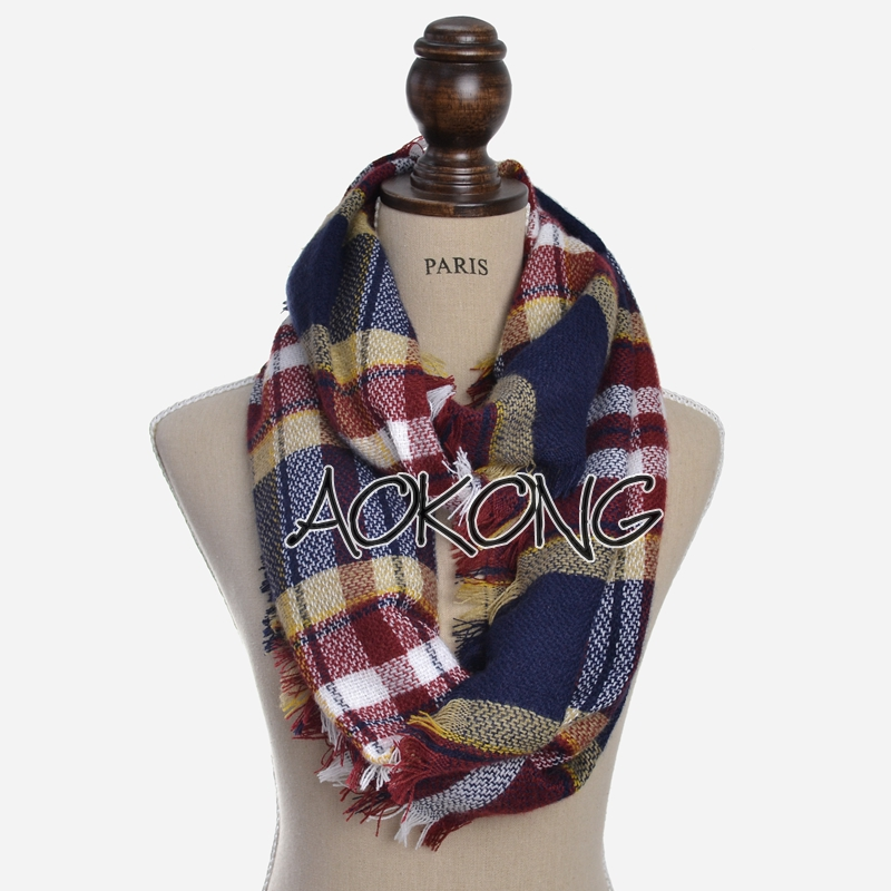 2017 stock new check winter snood red buffalo plaid infinity scarf