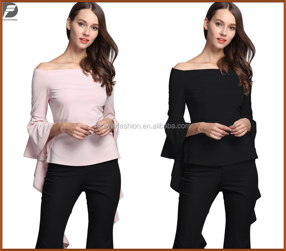 Wholesale Top Brand Hot Sales Europe Women New Fashion Plain Color Off-shouder Lady Sexy Black Crop Tops