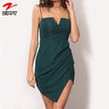 Latest Irregular Hem Hot Mini Summer Dress Spaghetti Straps Sexy Bodycon Dress