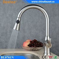 Beelee Brushed Nickel CUPC Pull Out Down Kitchen Faucet Tap with Spray Head