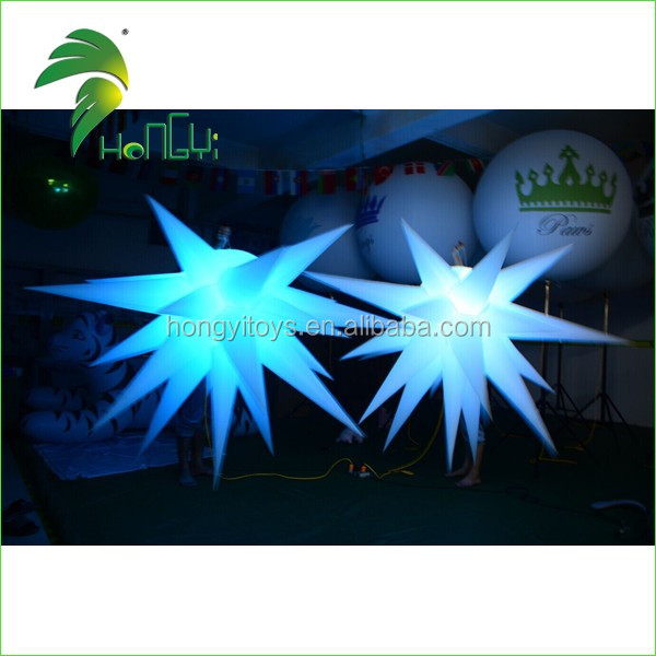 Hot Sale Custom Logo Printing Inflatable Star Light , Beautiful Lighting LED Hanging Star Decoration For Party And Activity