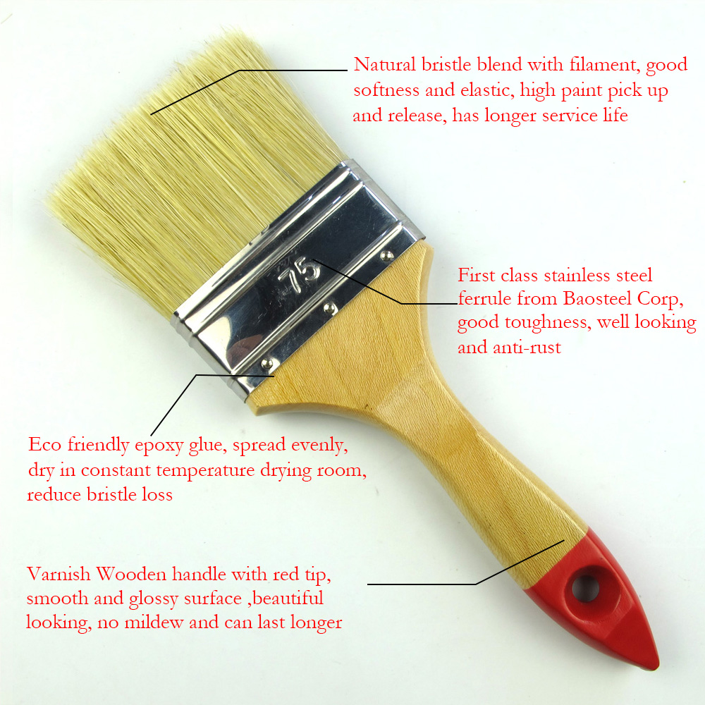 ColorRun Natural White Bristle Wooden Handle with Hanging Hole Paint Brush Whole