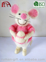 pure wool felt handmade christmas decoration pink mouse