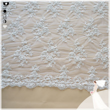 100% polyester hand beaded bridal lace embroidery tulle lace fabric for wedding dress