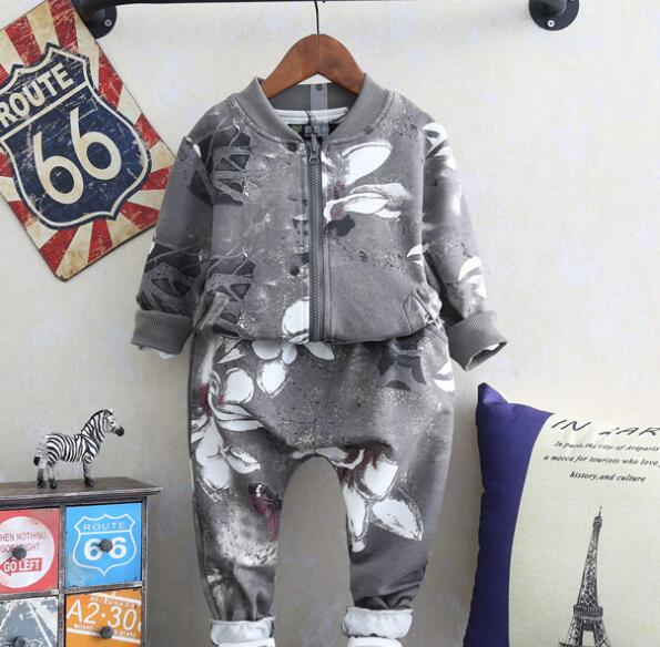 zm31856a Flower printed kids sportwear clothes baby boy boutique sport clothing set for children