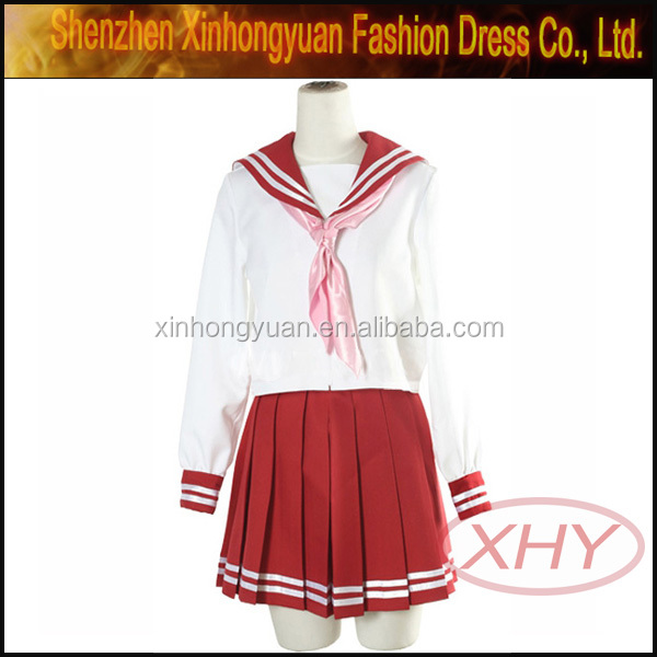 Red check pattern school uniform in japanese school uniform pattern