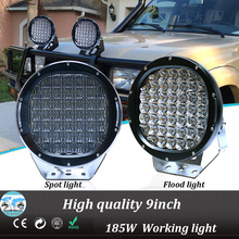 Black/ Red automobile 4x4 accessories 4wd offroad 9 inch 185w round led working light led driving