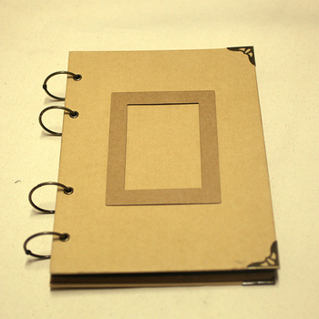 4 Ring Binder A4 Recycled Kraft Paper Cover Scrapbook Photo Albums With Metal Corners