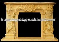 yellow marble stone fireplace