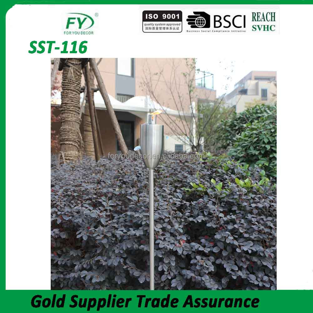 SST-116 yard decoration bullet design stainless steel garden oil lamp