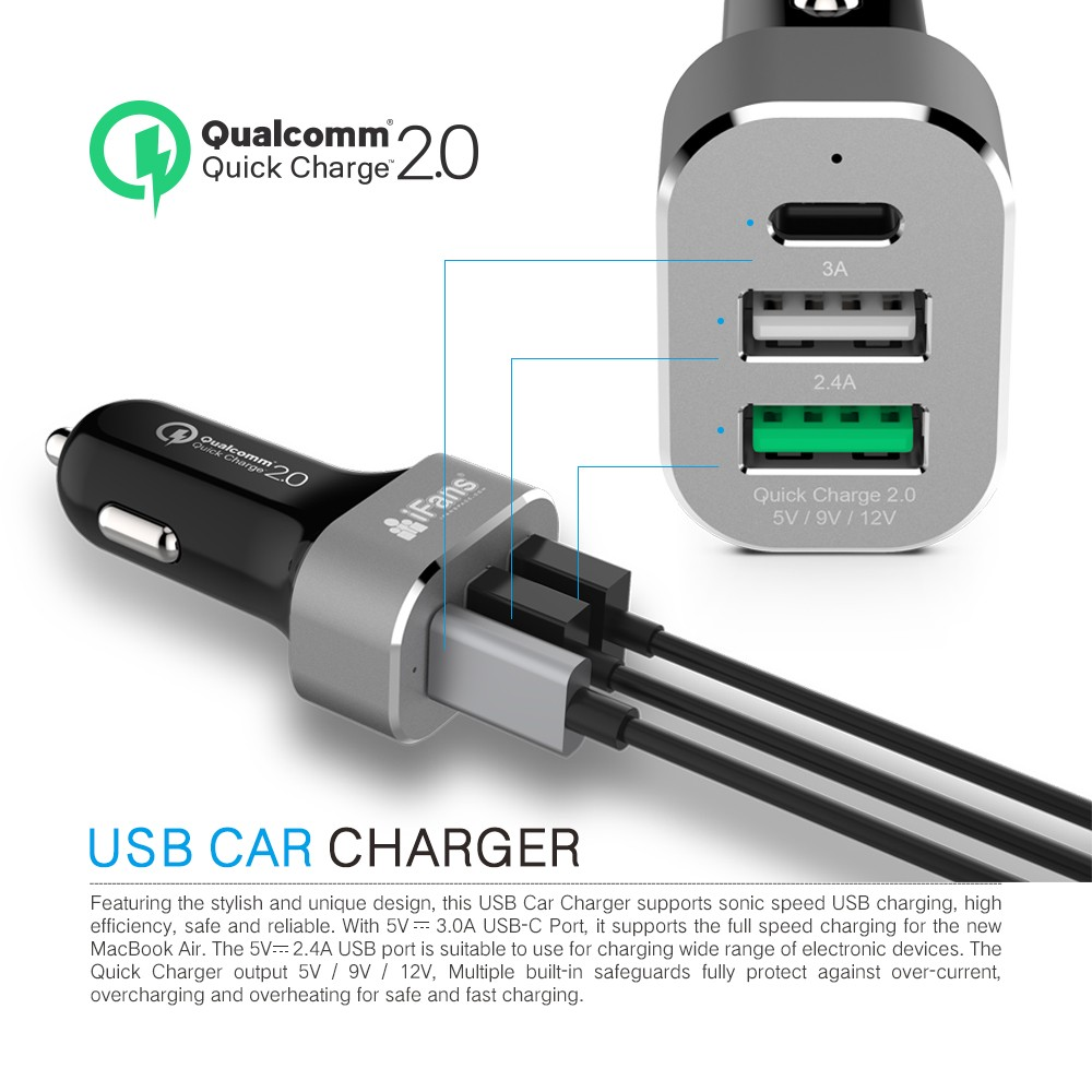 3USB Car charger with Type C port High Speed Charge for Apple and Sansung Series