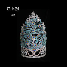 New fashion peacock shape rhinestone pageant crown