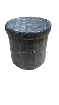 Top quality leather round foldable Storage Stool