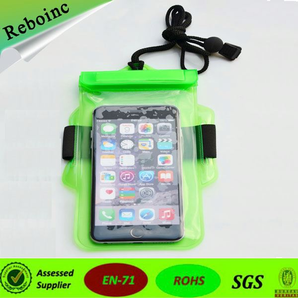 clip solide white pvc waterproof phone pouch for iphone6