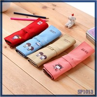 New Fashion DIY rolling pencil bag roll up pen display case school stationery
