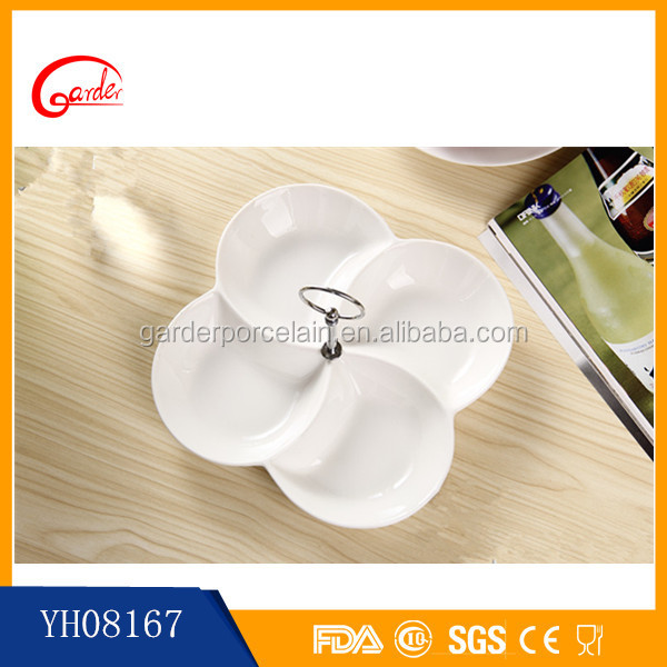 New products white ceramic rectangular divided plate
