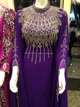 purple beautiful design Dress for Arabian women Khaleeji moroccan Beading Muslim Abaya Fashion designer Kaftan k6791