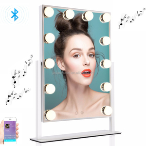 Danycase 2018 Newest Built-in Wireless Speaker Table Top Lighted Beauty LED Hollywood Vanity Makeup Mirror with Lights Bulbs