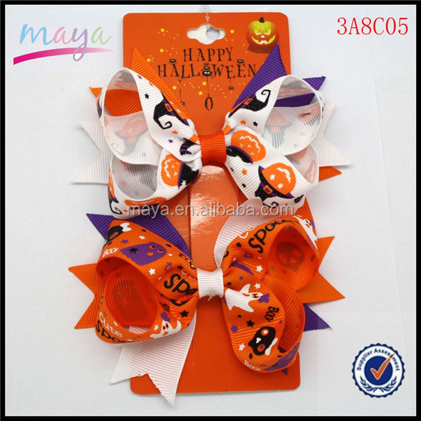 2015 Hot Sale Orange & Purple Ghosts And Witches Grosgrain Ribbon Stacked Bows Girl Kids Hallowmas Hair Bows Hairgrips