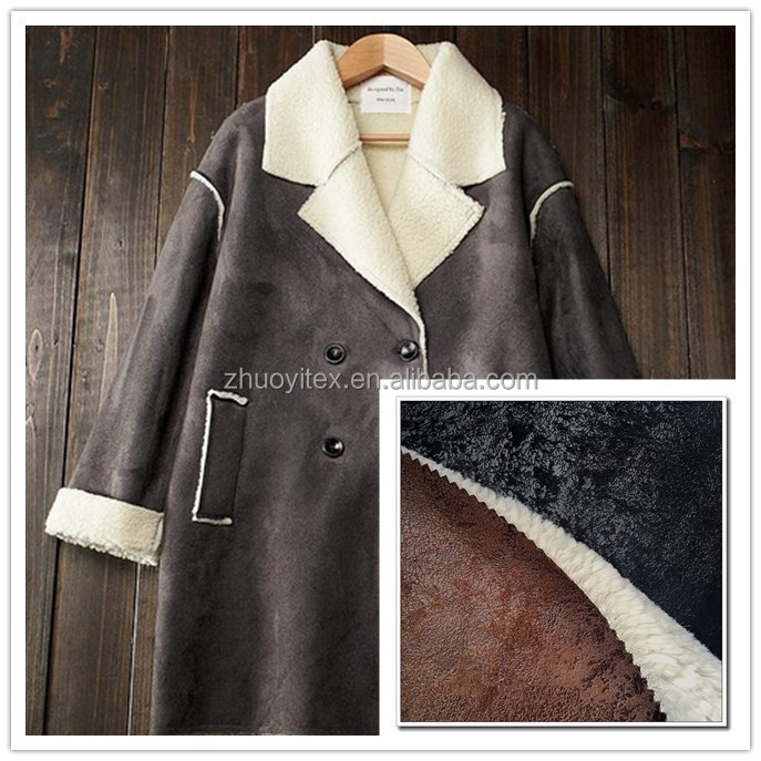 hot sale fashion design cheap suede bond with faux fur fabric for garment