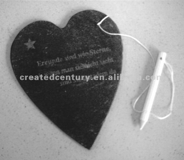 Heart shape slate writing board with pen