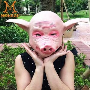 Factory Direct Sale Adult Size Deluxe Sex Funny Latex Pig Mask for Halloween