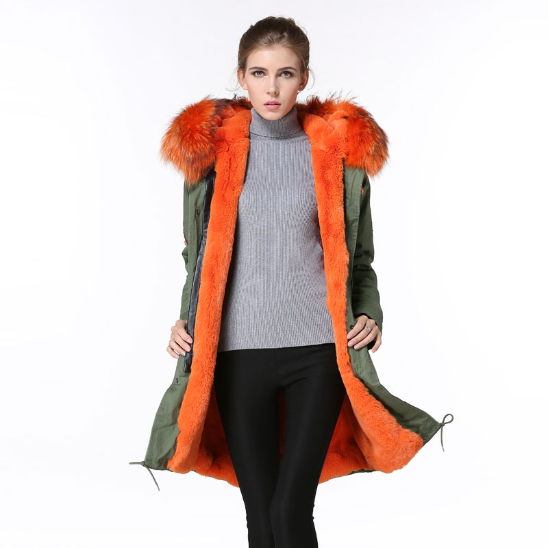 Orange fur lining parka for ladies lining down wear, fully fur beads parka for ladies winter wear