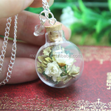 Dried Ivory Flower and moss Terrarium Glass Globe Bottle Necklace crystal silver chain necklace teardrop necklace