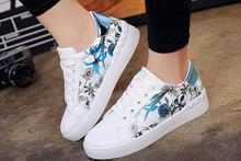 The new style hot sale print flower skid comfortable simpleness free style individuality lady sports shoes