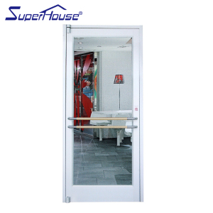 Commercial metal framed emergency exit door with push bar