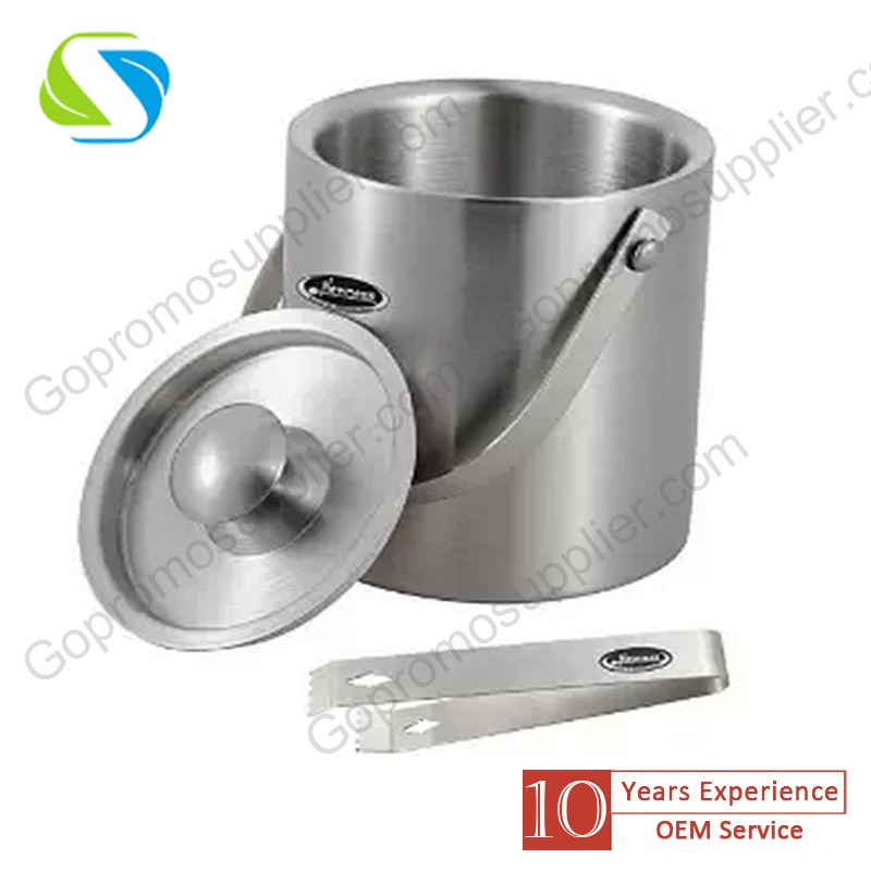 FDA advertising promotion custom logo made stainless steel ice bucket/ champagne wine beer ice bucket 010