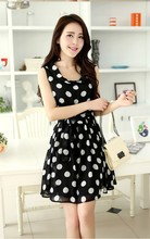 201 Ladies Long summer Chiffon Sexy Dress Fashion Chiffon Black White Dot Korean Summer Dress