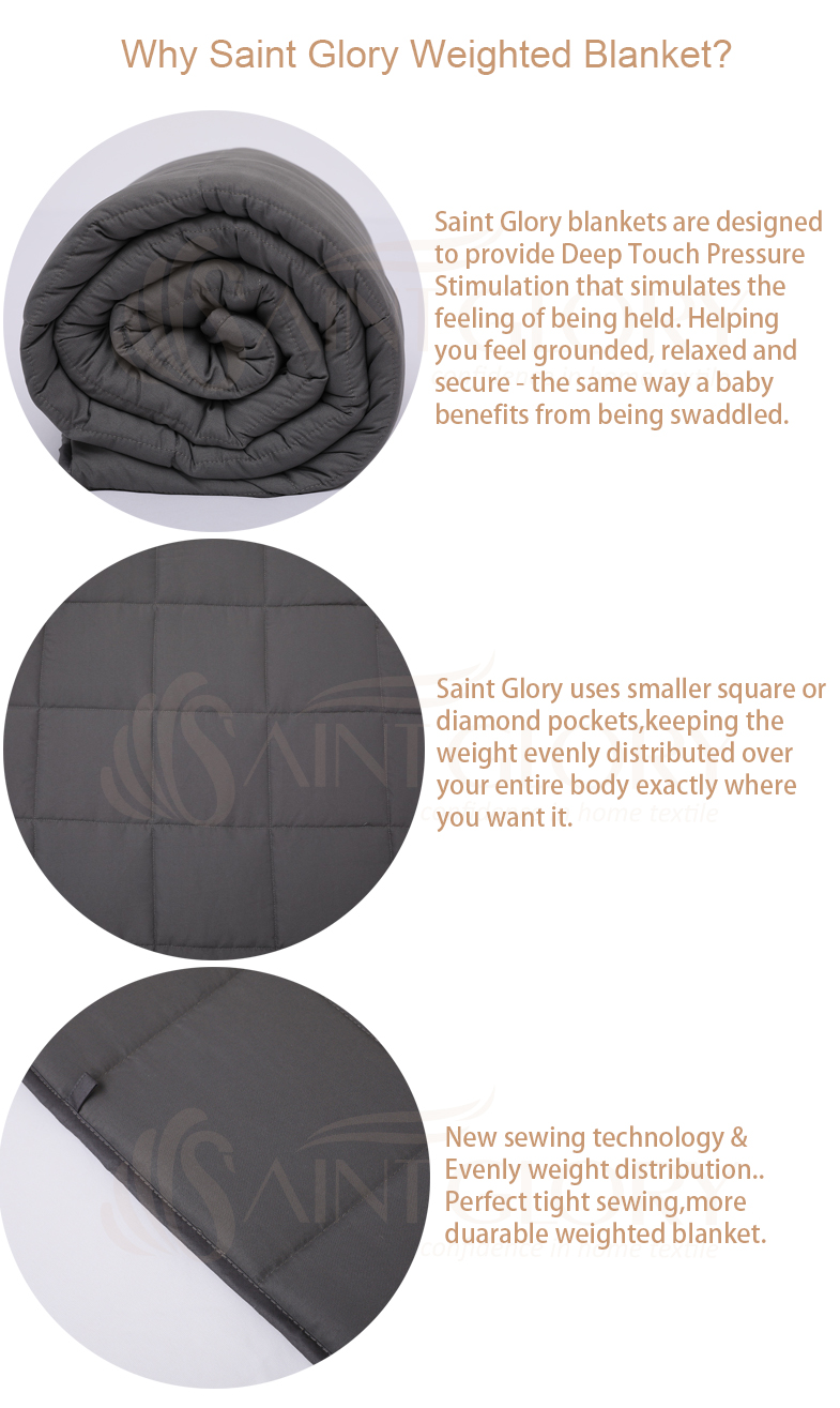 Comforting Sleep Premium Glass Beads Grey Heavy Weighted Blanket for Kids, Adults, Men, Women