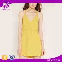 2016 Guangzhou Shandao Summer Latest Design Casual Women Spaghetti Strap Short Yellow Cross Back Chiffon Nice Dress