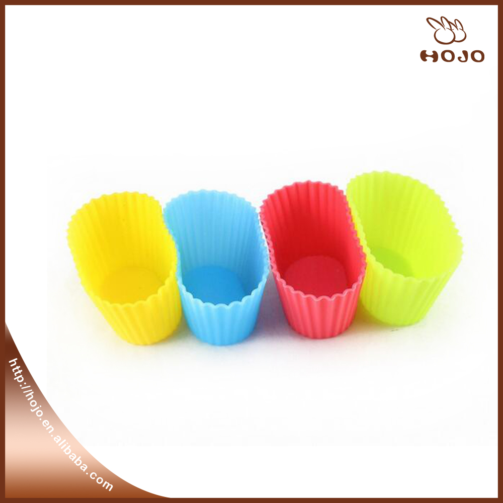 Oval Shape 7cm Sweet Muffin Cookie Cup Colorful Chocolate Jelly Mould Silicone Cake Mold DIY Cake Baking Molds