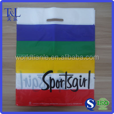 Custom manufacturing LDPE die cut handle shopping plastic bags