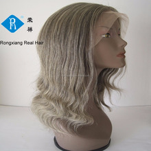 Cheap wholesale wavy human hair grey lace front wig