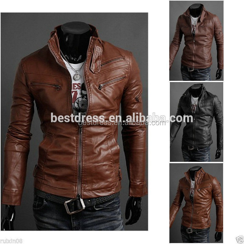 Wholesale New Design High Quality Mens Slim fit Zipper Designed PU Leather jacket for men Coat M-2XL in stock Type