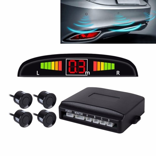 Car Voice Prompt Reverse Backup Radar System - Premium Quality 4 Parking Sensors Car Reverse Backup Radar System with LCD Displa