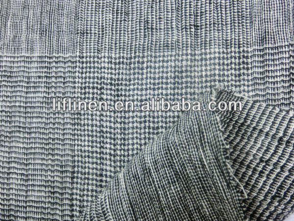 linen cotton yarn dyed check plaid fashion pleated skirt fashion fabric 2013