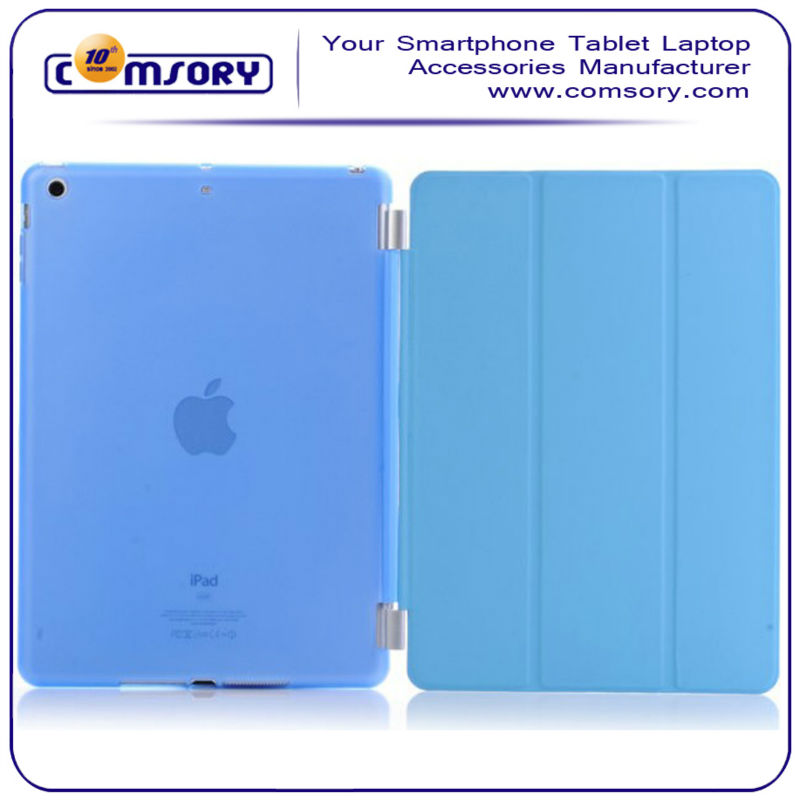 for APPLE iPad Air Ultra Slim Lightweight Leather Front Cover with Semi Transparent Back Case Shell