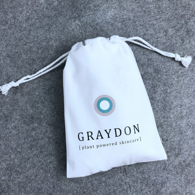 Brushed cotton branded dust bag/pouch with drawstring and logo