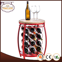 Orange Round Wooden Wine Rack