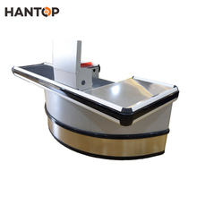 supermarket retail checkout counter with Conveyor belt cash register stand HAN-CC105 4172