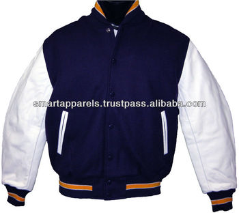 Pearl white Nylon/Polyester bomber Varsity jacket/Flight Jacket