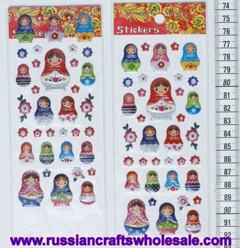 Set of Stickers of Russian Nesting Dolls Matryoshka with Ethnic Ornament, Wood Folk Art and Crafts Wholesale