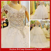 WD075 Heavy heand beaded expensive ball wedding gown for philippines