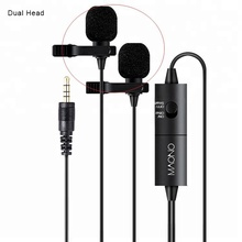Metal Audio Cable 6m Dual head Lapel Mics Omni-directional Lavalier Microphone for DSLR Camera Canon Nikon Smartphone