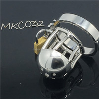 Male Chastity Device Stainless Steel Cock Short Cage Men's Virginity Lock, Small Chastity Belt Adult Game BDSM CBT Fetish C032