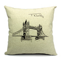Factory selling Black and white famous building style cushion cover